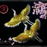 Double_Gold_Cranes_Ai_Cherry_Blossoms